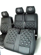 VW TRANSPORTER T5 VAN SEAT COVERS DOUBLE GREY BENTLEY STITCH + VW LOGO