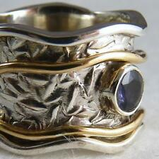 US 9 1/4 ~ Stg Silver/IOLITE SilverSari Solid 2-SPIN WAVE Embossed Spinner RING