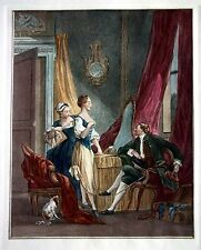 18th Century French Bourgeois Romantic Theme - Hand Colored Etching - plate 8