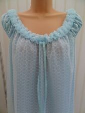 V131 VTG PIPPA DEE BLUE DOUBLE LAYER NYLON NIGHTDRESS NIGHTIE W M 12 14 NWOT