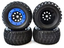 4 TIRES & 17mm HEX BLUE BEADLOCK WHEELS rims hubs - Associated 1/8 Rival MT