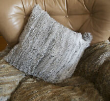 The ultimate luxury - A beautiful 45cm Square Knitted Rabbit Fur Cushion Cover