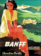 Canadian Pacific 1941 BANFF Lake Louise Canada Travel Vintage Poster Art Print