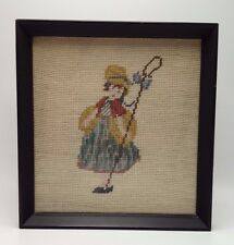 "Little Lil  Bo Peep Needlepoint finished frame 10"" Nursery Rhyme"