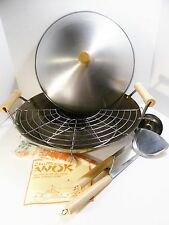 Wok Oriental Cookware 10 Piece Asian Cooking Set Chinese Cuisine Recipes Booklet