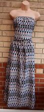 PRIMARK WHITE BLUE PINK BLACK ABSTRACT PRINT BANDEAU BELTED LONG MAXI DRESS 14 L