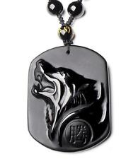 natural Obsidian stone Hand carved Wolf head good luck charm pendant
