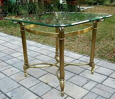 MID CENTURY ITALIAN  REGENCY Occasional End Table GOLD Metal  BEVELED Glass Top