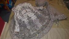 New Bridal Indian Pakistani Asian Traditional Elegant White Stone Lehenga