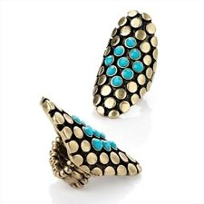 Burnished Gold Stretch Ring with Turquoise Beads