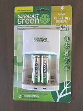 New Ultralast Green ULGVALUE2 Charger w/2 AA batteries