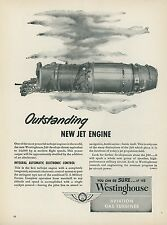 1951 Westinghouse Aviation Gas Turbine Engine Ad J-40 Jet Aircraft Military
