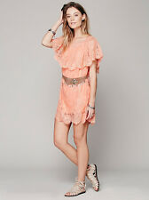 New Free People JEN'S PIRATE BOOTY Ethereal Senorita Dress Size XS/S ORANGE