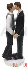 TWO GROOMS WEDDING CAKE TOPPER FIGURE SAME COUPLE BRIDAL DECORATION *UK SELLER*