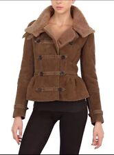 Auth NWT BURBERRY PRORSUM Brown Leather SHEARLING PEPLUM JACKET Sz.40
