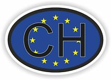 CH SWITZERLAND COUNTRY CODE OVAL Sticker With European Union Flag For Helmet car