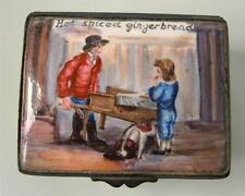 Antique Bilston Battersea Enamel Snuff Patch Box Hot Spiced Gingerbread 19th C