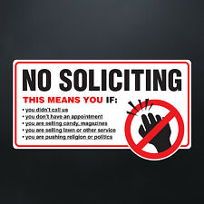 NO SOLICITING STICKER - No Solicitors Solicit Sign Trespassing - Decal, Label