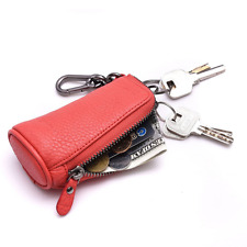 Minicastle Key Holder Leather Wallet Small Zip Coin Purse with Key Chain