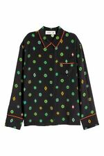 KENZO X H&M Patterned Pure Silk Blouse Shirt Black Size UK10 EU36 Sold Out !!!