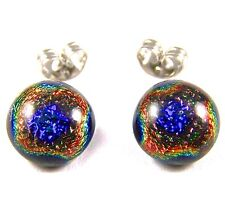 """DICHROIC Earrings Blue Copper Gold Rainbow Halo Patterned Post 1/4"""" 7mm STUDS"""