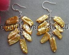 R080416 9x18MM Biwa pearl Earrings