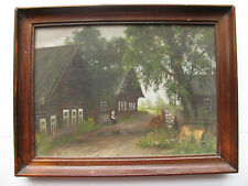 Original Oil Painting Little Old Lady Sitting Village Wood Houses Trees