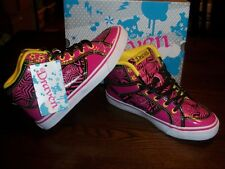 Draven Star High Top Neon pink & Yellow fun star design Shoes Size 6 NEW