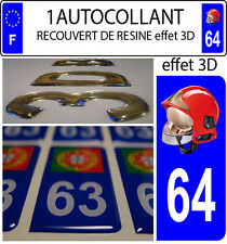 1 sticker plaque immatriculation auto DOMING 3D RESINE CASQUE F1 POMPIER DEPA 64