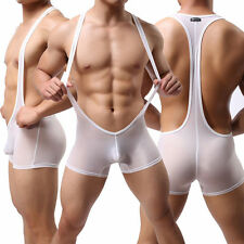 Sexy Stretch Open Bodysuit Thong Lingerie Mankini Singlet Men's Underwear M/L/XL
