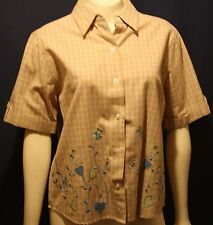 Womens Brown Button Down Shirt - Embroidered Flowers- Size: MP