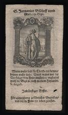 santino incisione 1600 S.GENNARO V.M. DI NAPOLI
