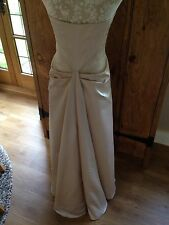 DESIGNER DEBUT DEBENHAMS EVENING DRESS LONG BALL GOWN SATIN BUSTLE CHAMPAGNE 12