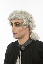 Shiny White Silver Lawyer Court Judge Vampire English British Europe Wig