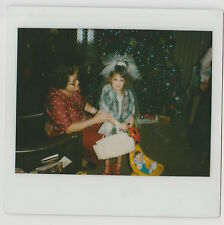 VINTAGE 80s Kodak Instant Film PHOTO Grandma Little Girl Playing Dress Up & Doll
