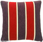 """SUPERB MODERN FUNKY RED PURPLE CREAM STRIPE CHENILLE 17"""" THICK CUSHION COVER"""