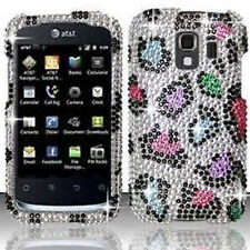 For Huawei AT&T Fusion 2 Crystal Diamond BLING Case Phone Cover Rainbow Leopard