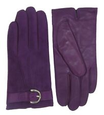COACH Winter Gloves Wrist Purple Suede Leather Cashmere Lined for Womens F83720