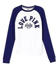 Nwt L VICTORIA'S SECRET PINK Flocked Perfect Crew SWEATSHIRT Blue White