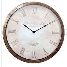 VINTAGE Distressed Bronze Metal LARGE Round Wall Clock NEW Roman Numerals Hall