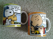 SNOOPY FLYING ACE & CHARLIE BROWN ON PHONE PAIR CERAMIC COFFEE MUGS by GIBSON!!!