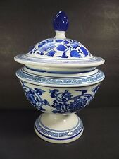 """Bombay Company Chinese Blue & White Floral Porcelain Footed Jar w/ Lid 12"""" Tall"""