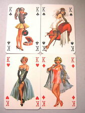 PLAYING CARDS VINTAGE GLAMOUR PIN UP ROMIKARTYA HUNGARY SET OF 4 KINGS 1950s