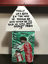 "MARY PROCTOR Folk Art Painting ""Train Up A Child"", Oil and Metal on Wood, 7""x18"""