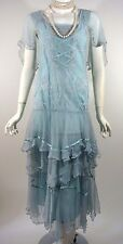 NATAYA Formal Blue Dress Bohemian Steampunk Victorian Gatsby Fancy Small S