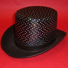 Black Felt Quality Adult Top Hat With Dots Dance Stage or Halloween Costume Md.