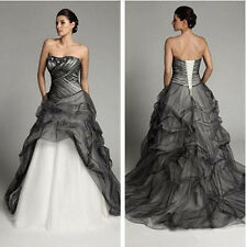 Vintage Ivory/Black Prom Quinceanera Formal Gowns Gothic A Line Wedding Dresses