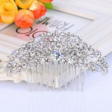 Bridal Wedding Clear Austrian Zircon Crystal Silver Hair Clip Comb Head Piece