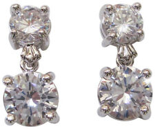 CZ By Kenneth Jay Lane 4CTTW Double Drop Rhodium Plated Earrings