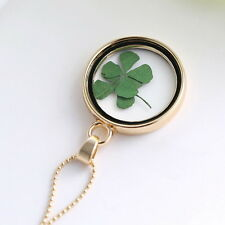 Glücklich Halskette mit Vierblättrige Kleeblatt Medaillon-Anhänger gute Geschenk